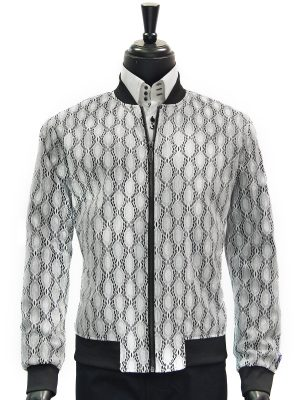 Mens Blu Martini Black White Patterned Trendy Bomber Zip Up Jacket