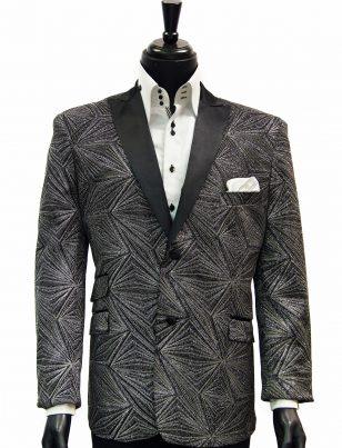 Mens Blu Martini Silver Black Glitter Geometric Pattern Prom Satin Lapel Blazer