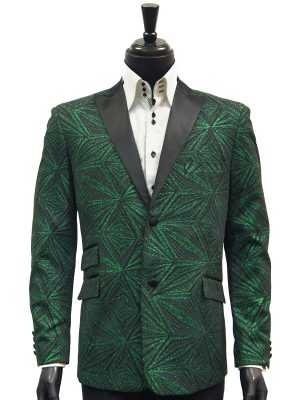 Mens Blu Martini Green Black Glitter Geometric Pattern Prom Satin Lapel Blazer