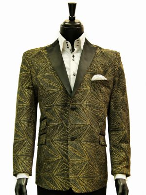 Mens Blu Martini Gold Black Glitter Geometric Pattern Prom Satin Lapel Blazer