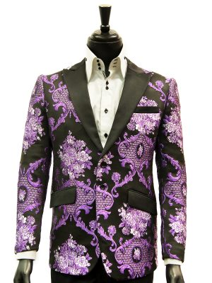 Angelino Mens Purple Black Royal Design Party Prom Formal Two Button Blazer