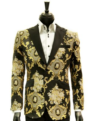 Angelino Mens Gold Black Royal Design Party Prom Formal Two Button Blazer