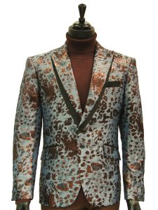 Angelino Mens Blue Maroon Animal Print Shine Two Button Party Prom Blazer