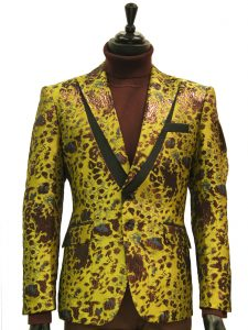 Angelino Mens Green Maroon Animal Print Shine Two Button Party Prom Blazer