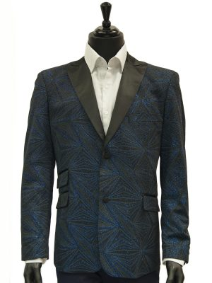 Mens Blu Martini Blue Black Glitter Geometric Pattern Prom Satin Lapel Blazer
