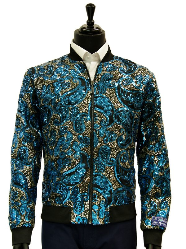 Mens Blu Martini Blue Gold Sequin Paisley Design Trendy Bomber Zip Up Prom Jacket