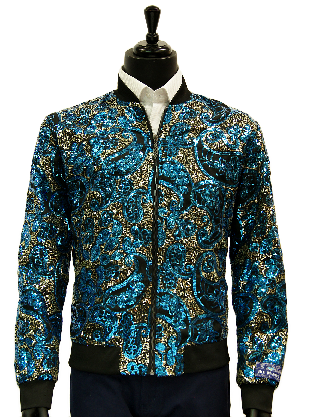 03d0d59c8 Blu Martini Blue Gold Multi Color Sequin Paisley Design Trendy Bomber Zip  Up Fun Jacket