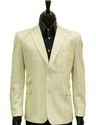 Mens Blu Martini White Gold Lace Design Elegant Two Button Formal Prom Blazer