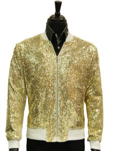 Mens Blu Martini White Gold Sequin Trendy Zip Up Prom Bomber Jacket