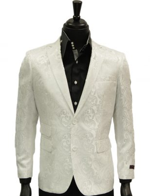 Mens Manzini White Paisley Design Satin Two Button Prom Formal Blazer Jacket