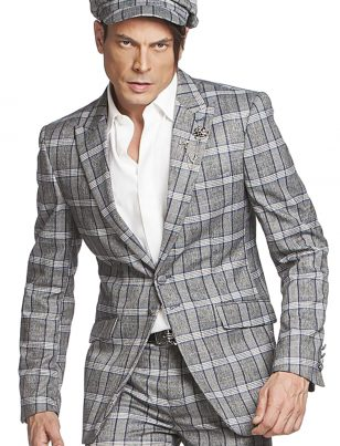 Angelino Mens Grey White Plaid Two Piece Casual Formal Professional Suit