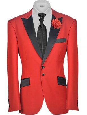 Angelino Red Black Two Tone Contrast Two Button Formal Prom Blazer
