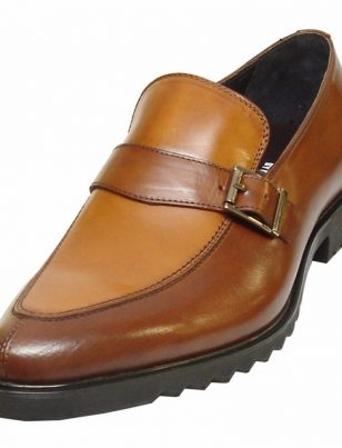Fiesso Mens Brown Leather Monk Straps Slip On Comfort Sole Casual Loafer Shoe