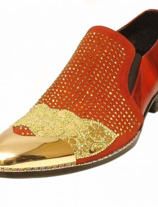 Fiesso Men Red Leather Gold Rhinestone Crystal Metal Cap Toe Slip On Dress Shoe