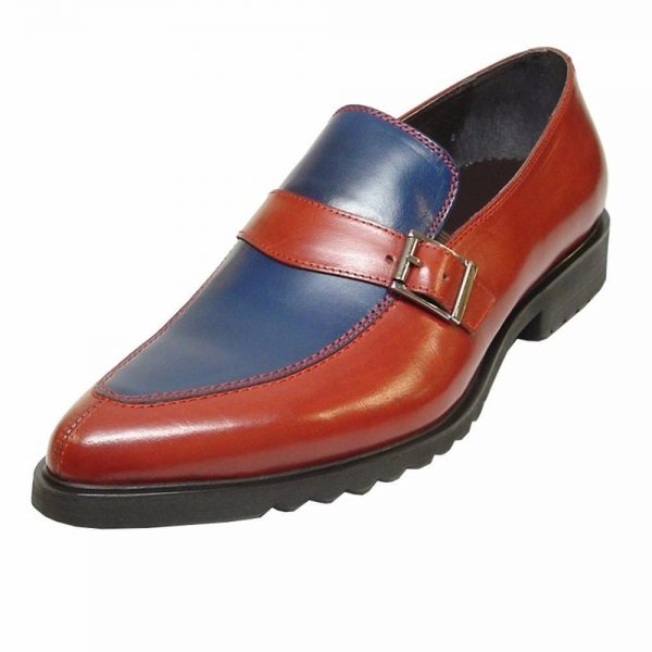 Fiesso Mens Red Blue Leather Monk Straps Slip On Comfort Sole Casual Loafer Shoe