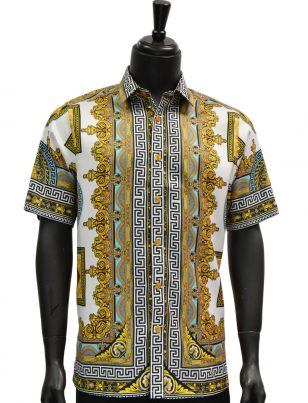 Mens Gold Black White Royal Design Short Sleeve Button Up Shirt