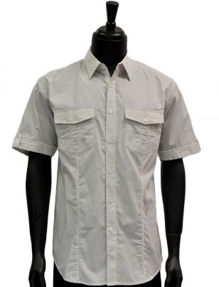 Knock Out Mens White Black Polka Dot Two Pocket Cotton Button Up Short Sleeve Casual Shirt