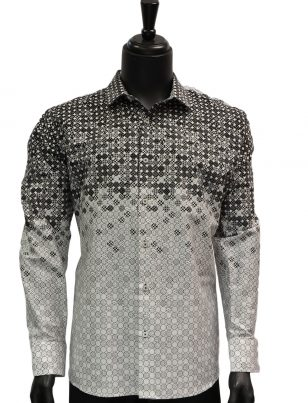 Barabas Mens Black White Gradient Abstract Pattern Casual Button Up Shirt
