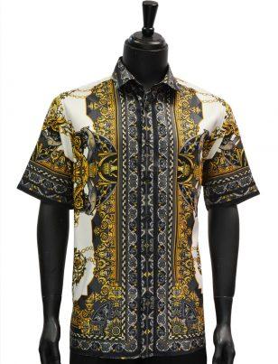 Mens Gold Black White Royal Roman Design Short Sleeve Button Up Shirt