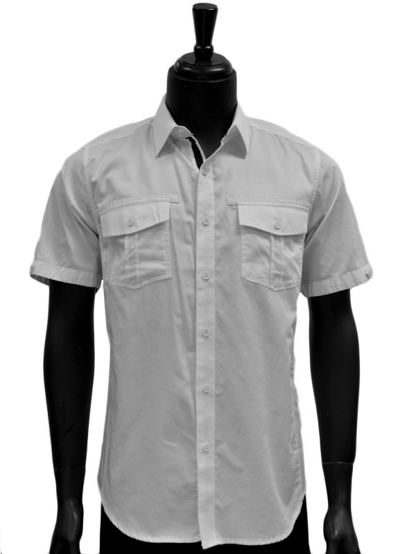Knock Out Mens White Two Pocket Cotton Short Sleeve Button Up Shirt