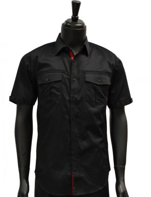 Knock Out Mens Black Two Pocket Cotton Button Up Short Sleeve Casual Shirt