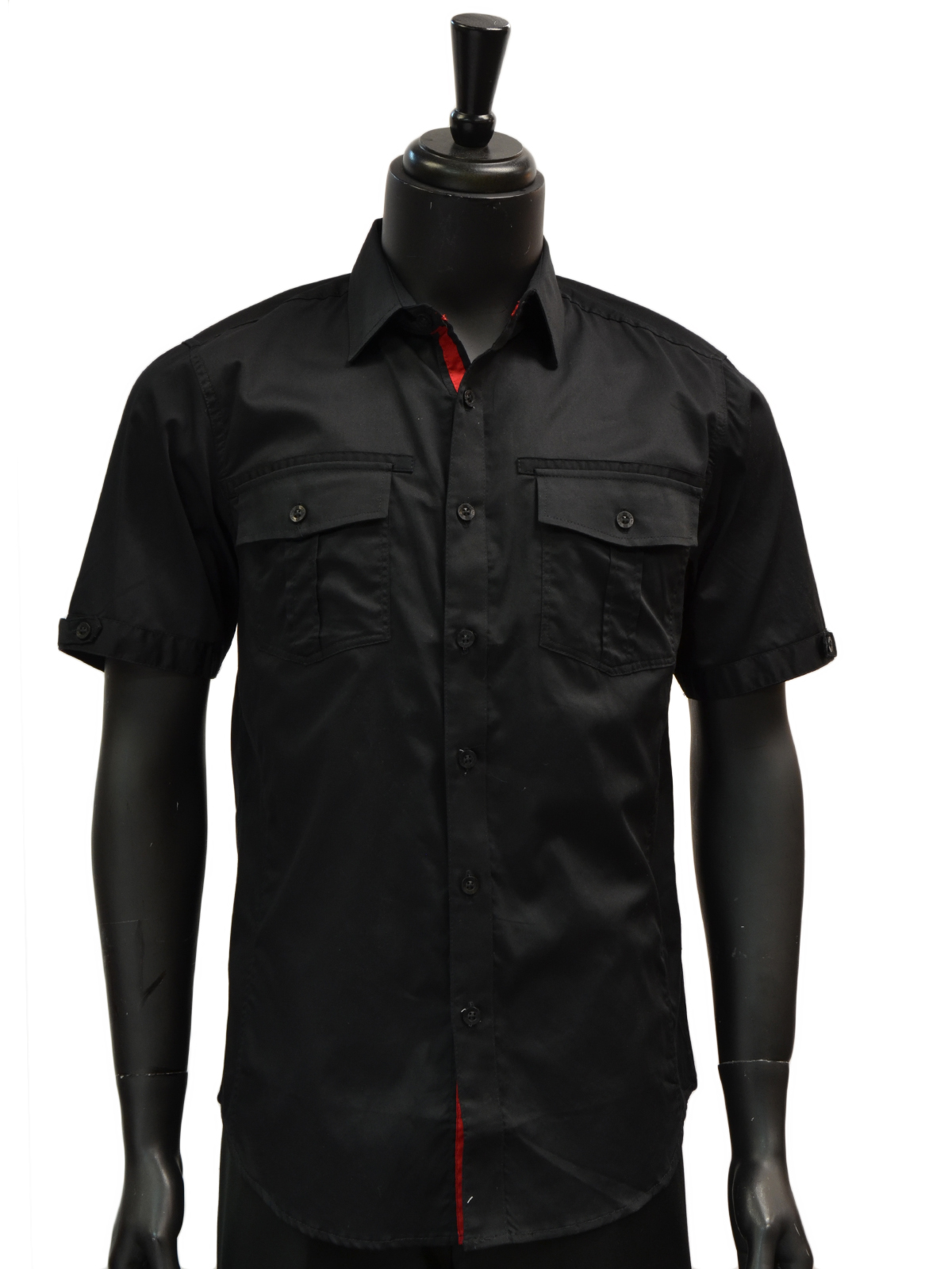 Knock out mens black two pocket cotton button up short for Mens two pocket short sleeve shirts