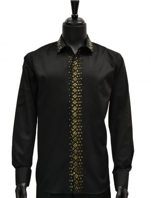 Barabas Mens Black Gold Studded Button Up Dress Casual Shirt