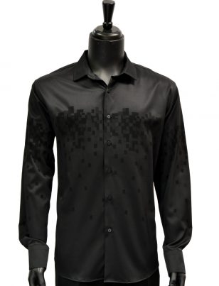 Barabas Mens Black Geometric Gradient Pattern Casual Button Up Shirt
