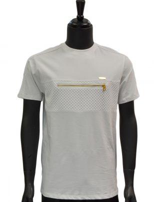 Makobi Mens White Gold Zipper Detail Textured Short Sleeve Cotton T Shirt