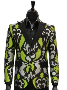 Angelino Mens Lime Green Black Silver Embroidered Party Prom Two Button Blazer