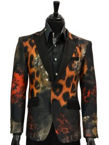 Angelino Mens Multicolor Animal Print Black Lapel Silk Party Prom Two Button Blazer