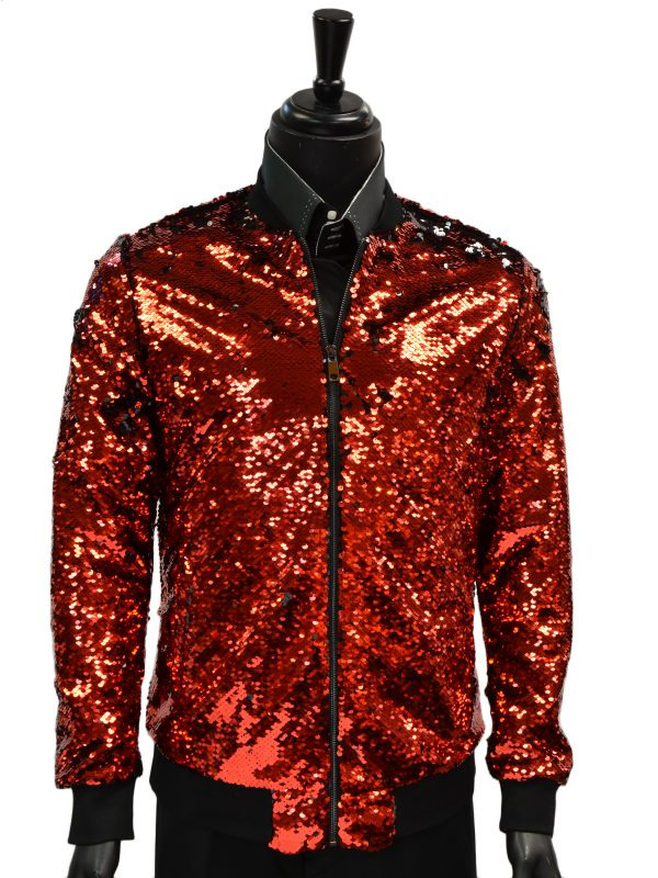 Barabas Mens Red Black Flip Sequin Zip Up Prom Party Bomber Jacket