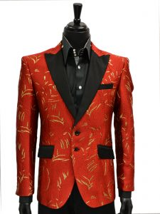 Angelino Mens Red Gold Textured Black Lapel Two Button Party Prom Blazer
