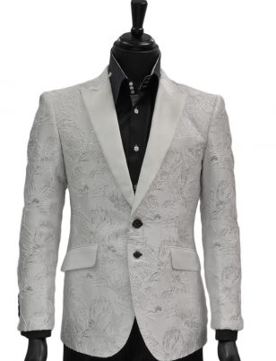 Angelino Mens White Silver Floral Textured Black Button Fancy Prom Party Blazer Jacket