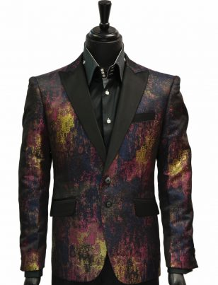 Angelino Mens Navy Gold Multicolor Paint Splatter Party Prom Two Button Blazer