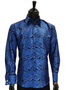 Manzini Mens Royal Blue Black Paisley Jacquard Party High Collar French Cuff Shirt