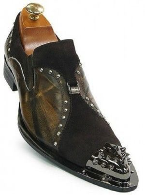 Zota Mens Brown Carmel Leather Suede Crome Metal Spiked Tip Slip On