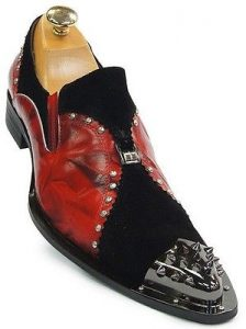 Zota Mens Red Black Leather Suede Chrome Metal Spiked Tip Slip On Trendy Shoe