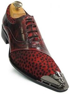 Zota Mens Red Black Leather Pony Hair Leopard Design Metal Cap Toe Lace Up Shoe