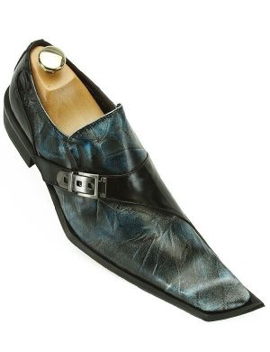 Zota Mens Blue Black Leather European Design Angular Pointed Toe Slip On Shoe