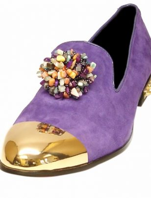 Fiesso Men Purple Suede Gold Spike Metal Red Bottom Gem Stone Loafer Slip on Shoe