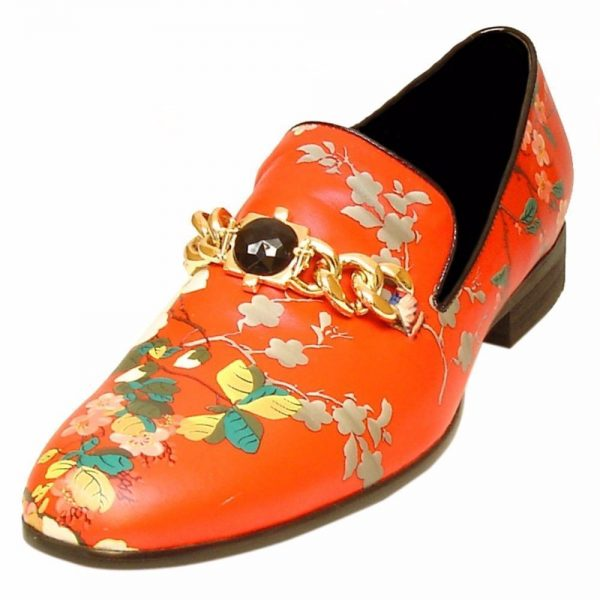 Fiesso Mens Orange Red Floral Print Chain Metal Stone Accent Slip On Loafer Shoe