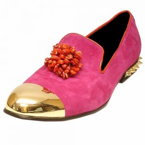 Fiesso Suede Men Pink Fuchsia Gold Metal Spike Cap Toe Slip On Loafer Formal Shoe