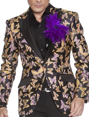 Angelino Mens Yellow Black Butterfly Pattern Shiny Fabric Black Trim Formal Slim Fit Blazer