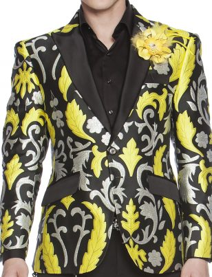 Angelino Yellow Black Silver Paisley Embroidery Bling Black Trim Formal Slim Blazer