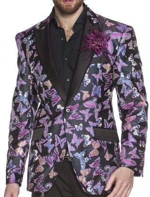 Angelino Mens Purple Black Butterfly Pattern Shiny Fabric Black Trim Formal Slim Fit Blazer