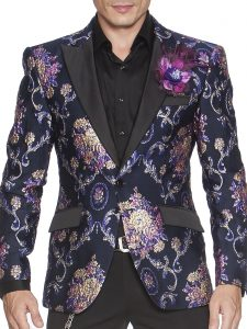 Angelino Mens Purple Navy Vintage Design Black Trim Formal Slim Fit Blazer