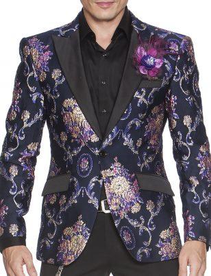Angelino Mens Purple Navy Vintage Design Black Trim Formal Slim Fit Blazer