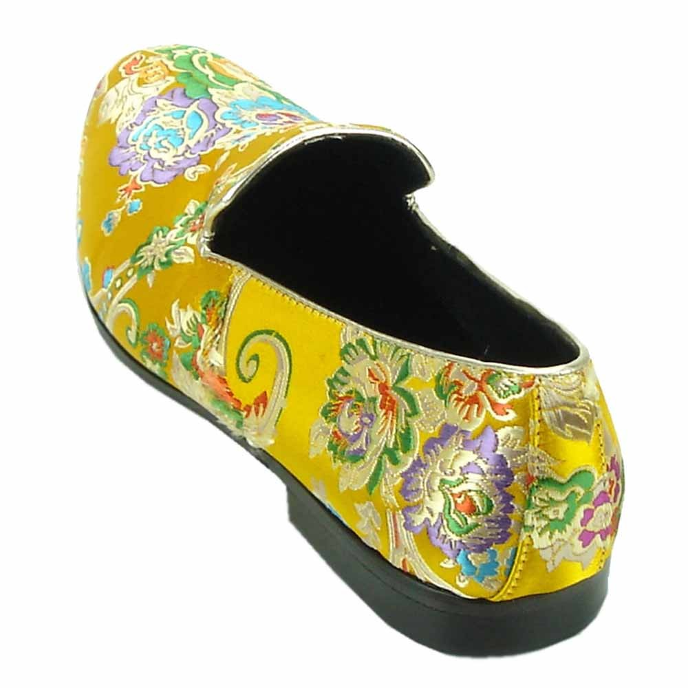 674b09cc8dd Fiesso Mens Yellow Multicolor Floral Print Slip On Loafer Shoe. 100%  Satisfaction ...