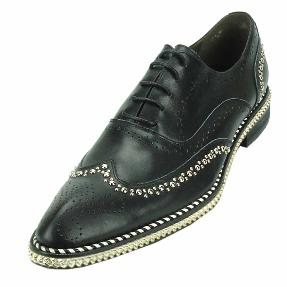 Fiesso Men Black Leather Gold Studded Chain Wingtip Red Bottom Laceup Oxford Shoe